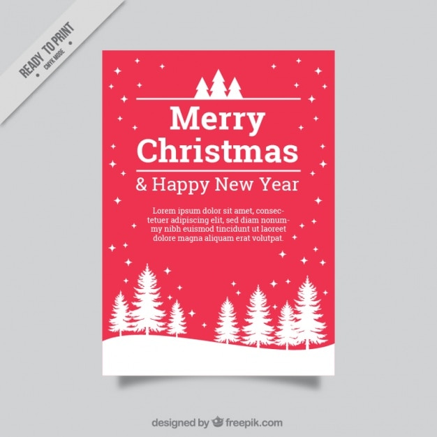 merry christmas and new year greeting card with pine and snow free vector