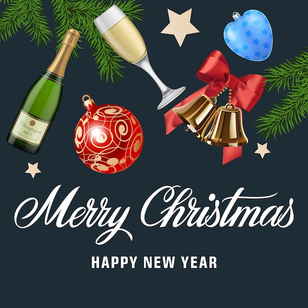 Merry Christmas and New Year greeting card Vector   Free Download