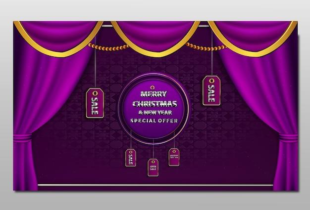 С рождеством и новым годом распродажа баннер Бесплатные векторы