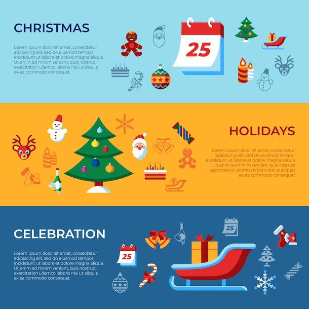 Коллекция рождественских и зимних праздников Premium векторы