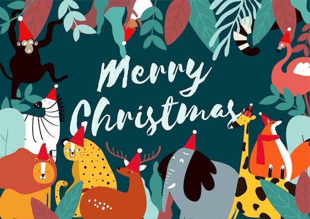Merry Christmas Animals.Merry Christmas Animal Theme Card Vector Vector Free Download