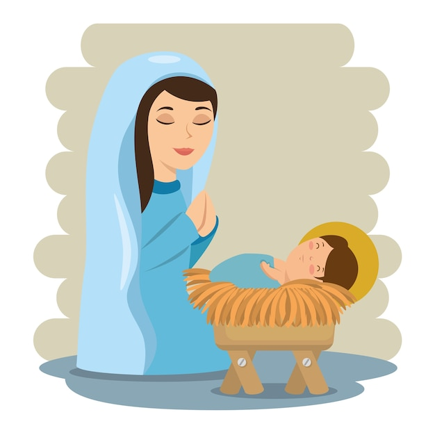Merry christmas baby jesus lying in a manger with maria Premium Vector