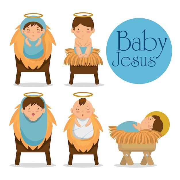 Merry christmas baby jesus lying in a manger Premium Vector