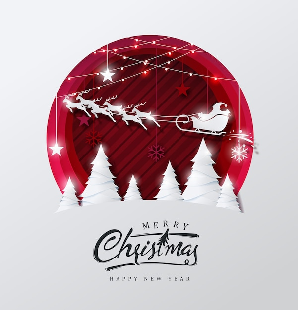С рождеством христовым фон украшенный санта-клаусом и оленями пейзаж в стиле вырезки из бумаги. Premium векторы