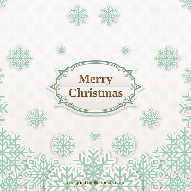 Merry christmas background in paper style with snowflakes