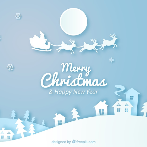 Merry christmas background in paper style