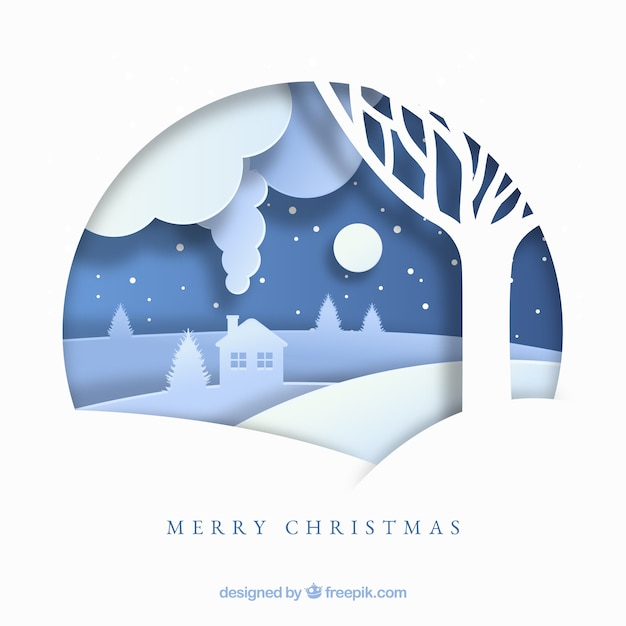 Merry christmas background in paper style Free Vector