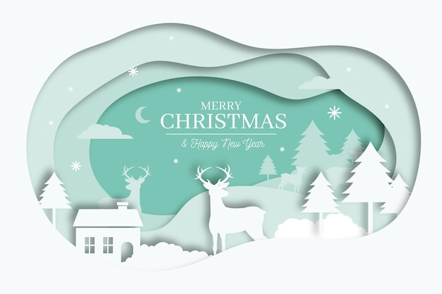 Merry christmas background in paper style concept Free Vector