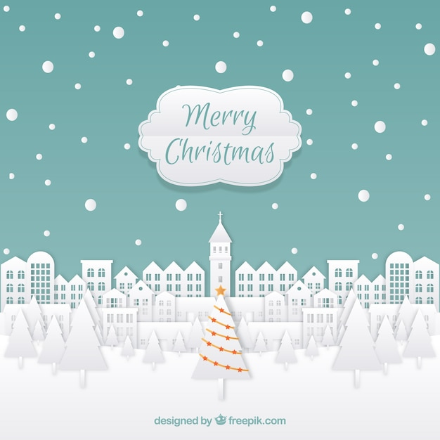 Merry christmas background with a town in paper style