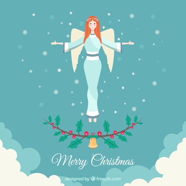 Merry christmas background with an angel in flat design