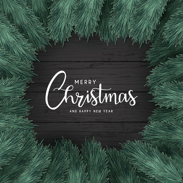 Merry christmas background with black wood Free Vector