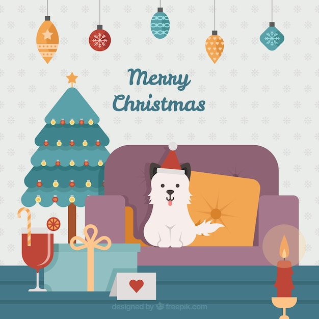 Merry christmas background with cheerful puppy in the living room