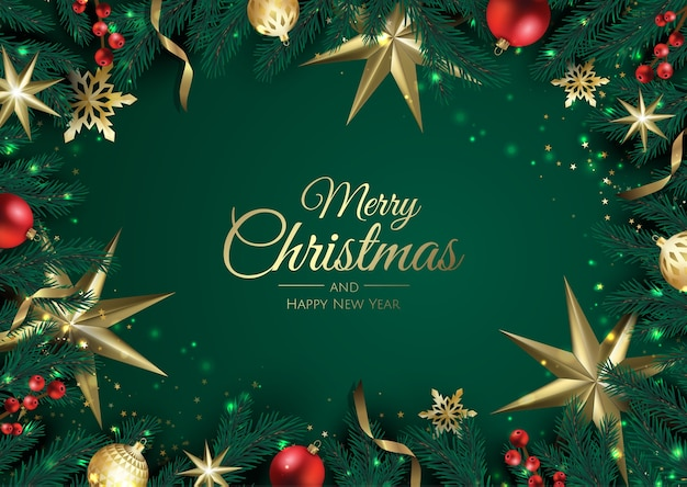 Merry christmas background with christmas element. Premium Vector
