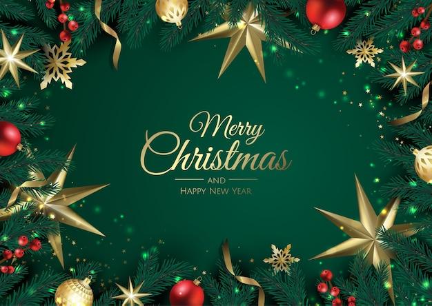 クリスマスの要素を持つメリークリスマスの背景。 Premiumベクター