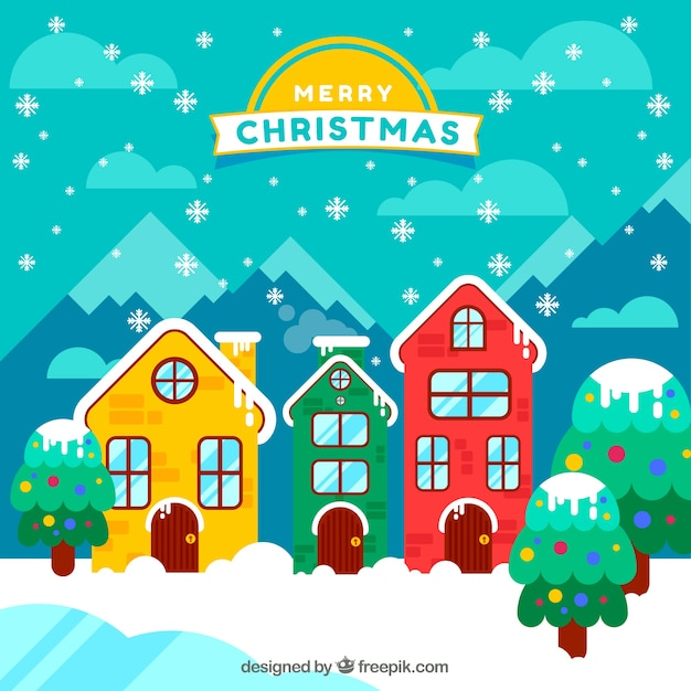 Merry christmas background with colored houses facade