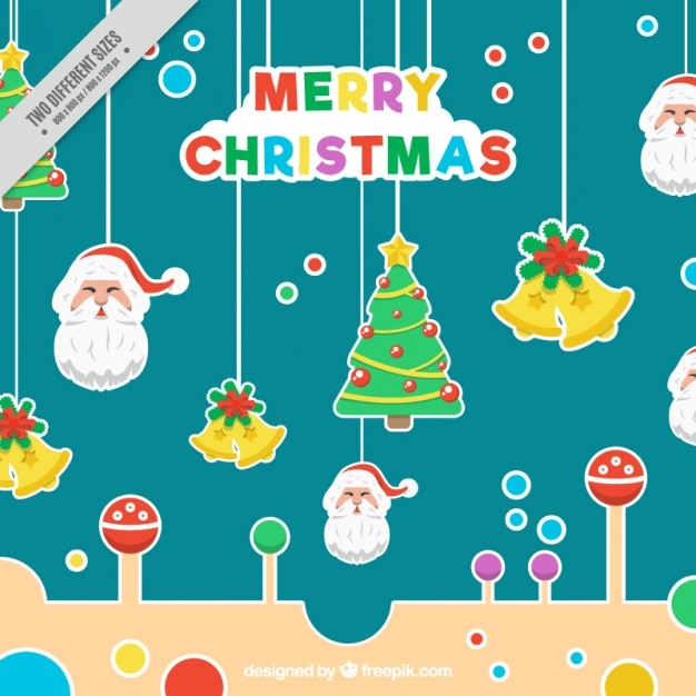 Merry christmas background with colorful\ stickers hanging