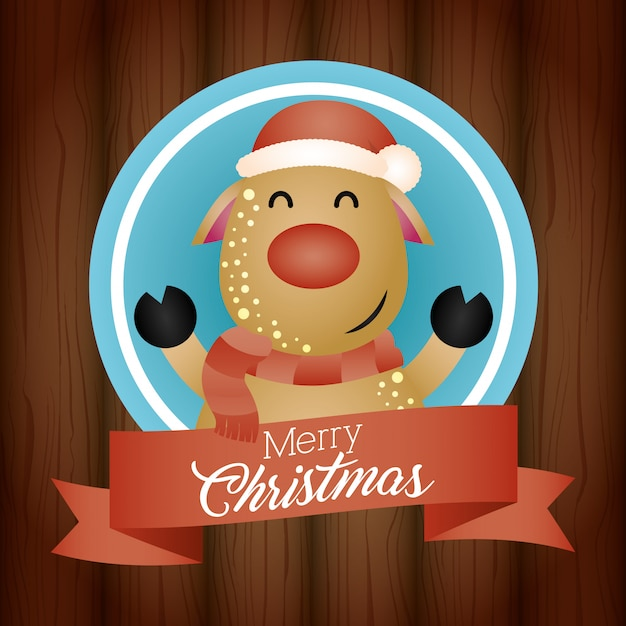 Merry christmas background with cute reindeer character Free Vector