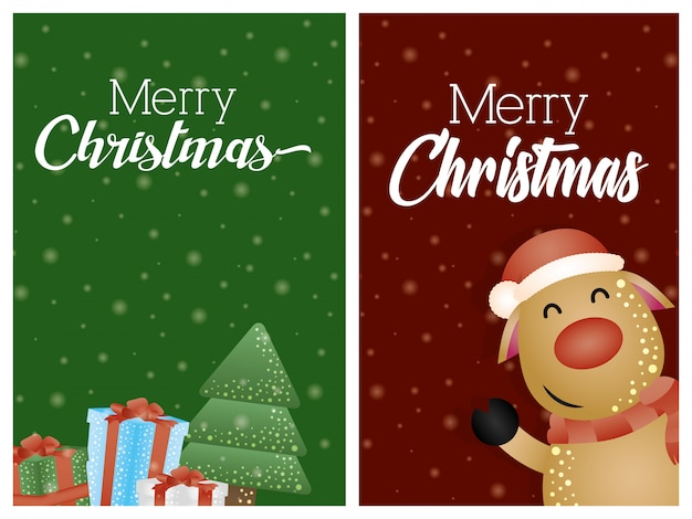 Merry Christmas Background With Cute Reindeer Character