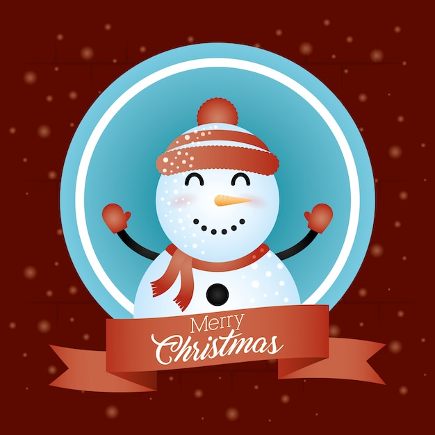 Merry christmas background with cute snowman character Free Vector