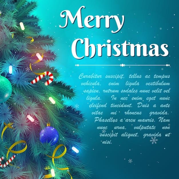 Веселый новогодний фон с украшенными еловыми ветками и текстовым полем с плоской векторной иллюстрацией Бесплатные векторы