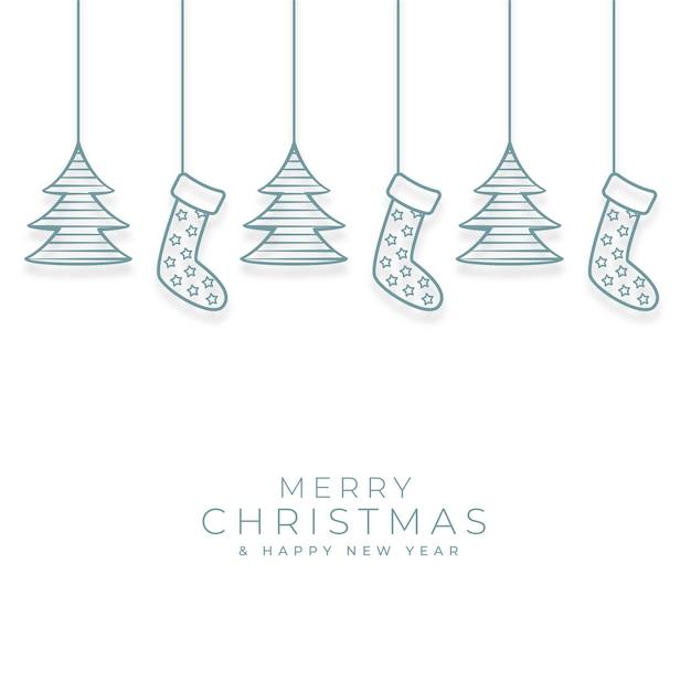 Счастливого рождества фон с декоративными элементами xmas Бесплатные векторы