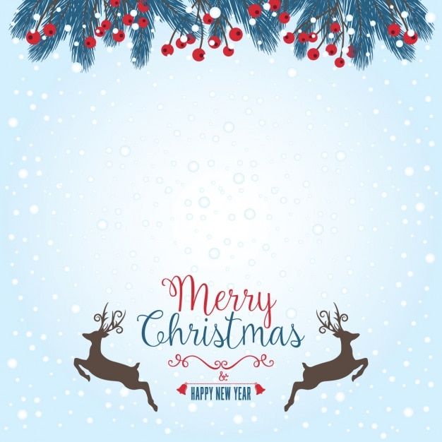Merry Christmas Background With Deers Free Vector