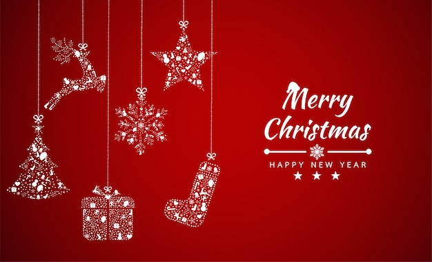 Merry christmas background with element collection banner Premium Vector