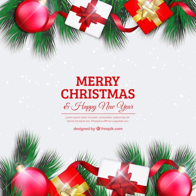 merry christmas background with elements free vector - Merry Christmas Background