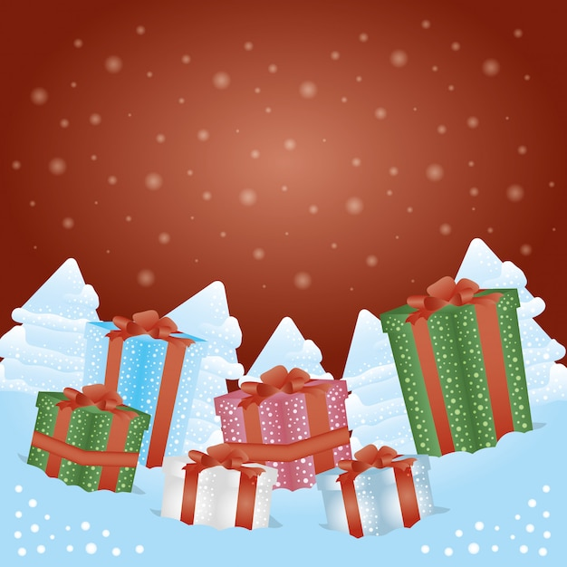 Merry christmas background with gift boxes presents Free Vector