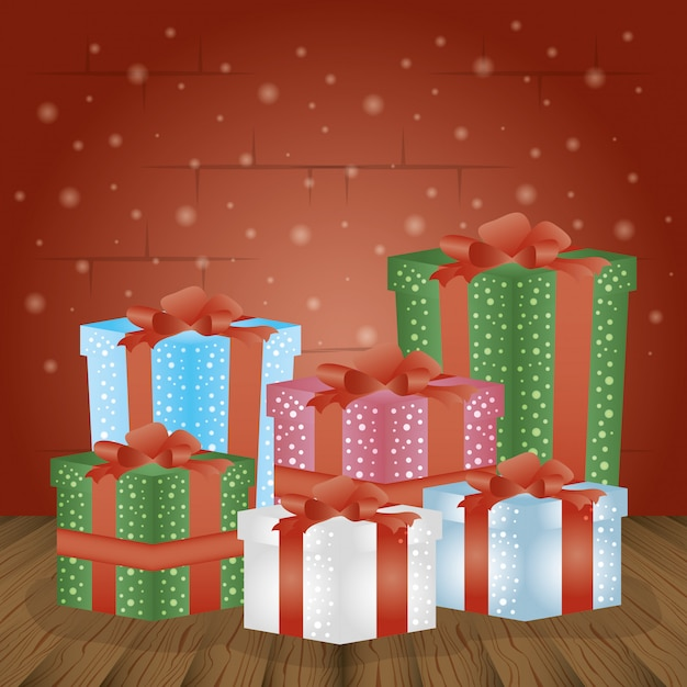 Merry christmas background with gift boxes Free Vector
