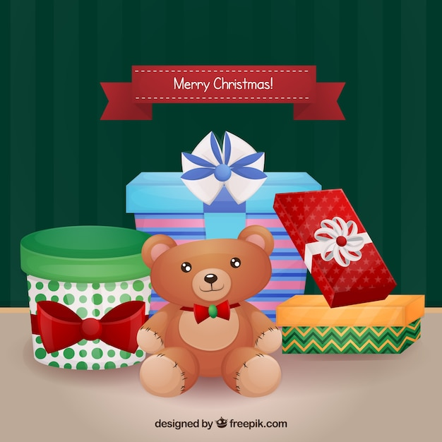Merry christmas background with gifts and teddy bear