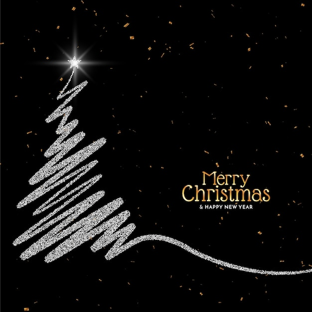 Merry christmas background with glitters tree design Free Vector