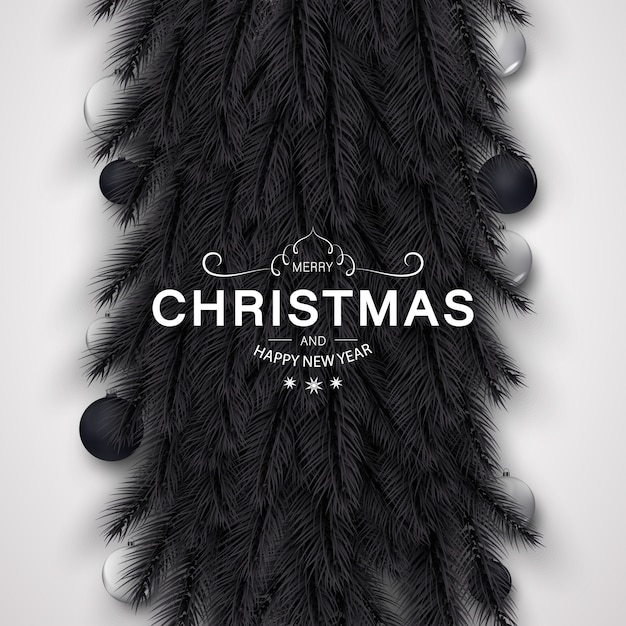 Merry christmas background with golden and black decoration Premium Vector