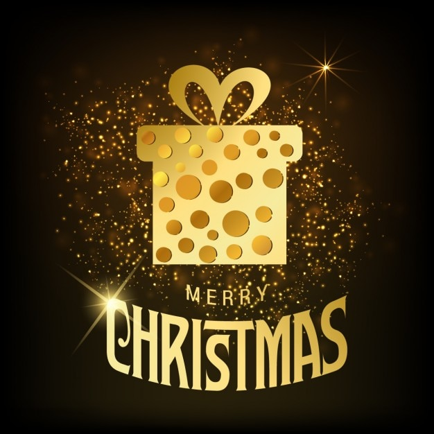 Merry christmas background with golden gift box Free Vector
