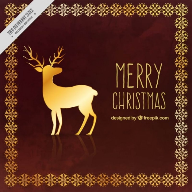Merry christmas background with golden reindeer Free Vector