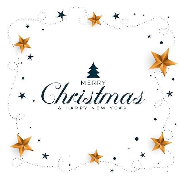 金色の星のデザインとメリークリスマスの背景 無料ベクター