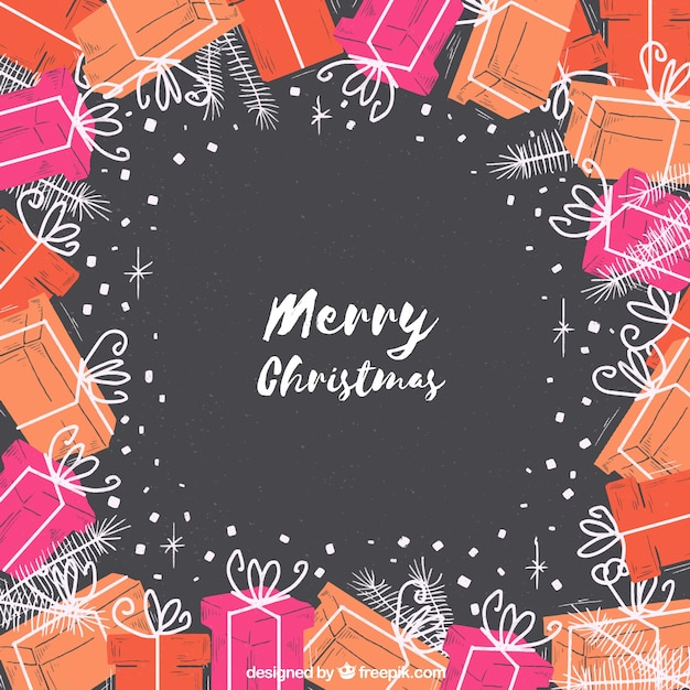 Merry christmas background with hand drawn gifts