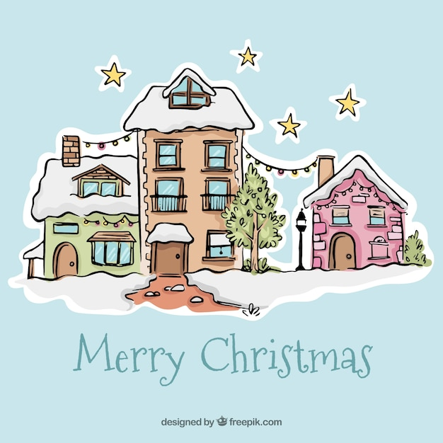 Merry christmas background with hand drawn pretty façades houses ...