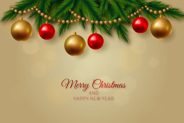 Merry christmas background with hanging festive balls Free Vector