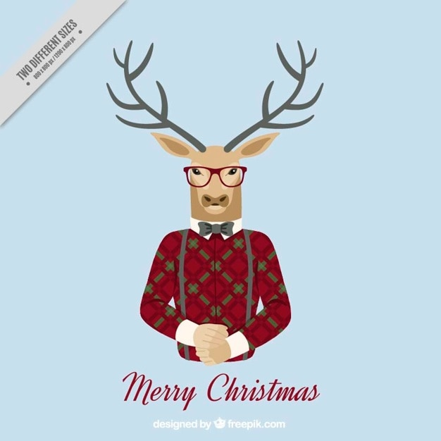 Merry Christmas Background With Hipster Reindeer Free Vector