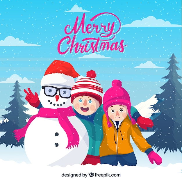 Merry christmas background with kids and their snowman