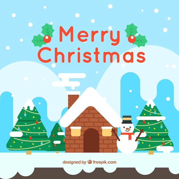Merry christmas background with landscape and snowman