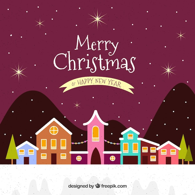 Merry christmas background with nice colorful village Vector | Free ...