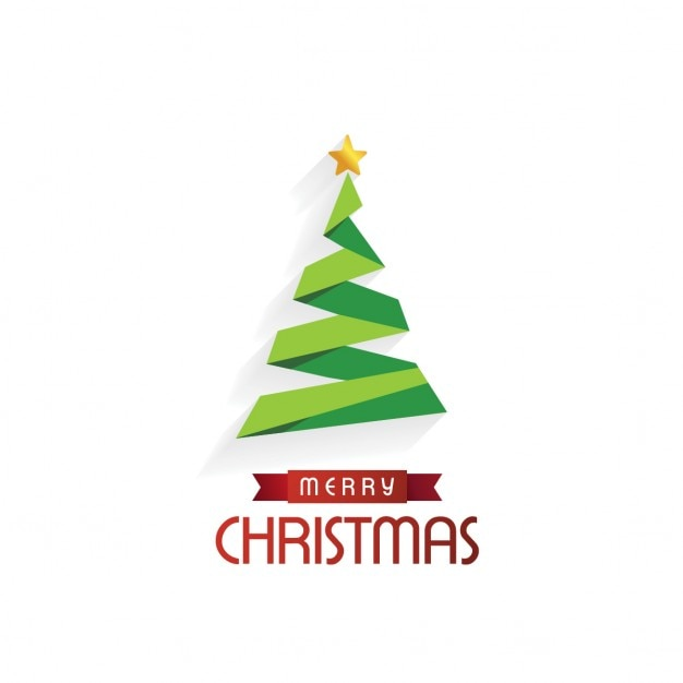 Merry christmas background with origami tree and star Free Vector