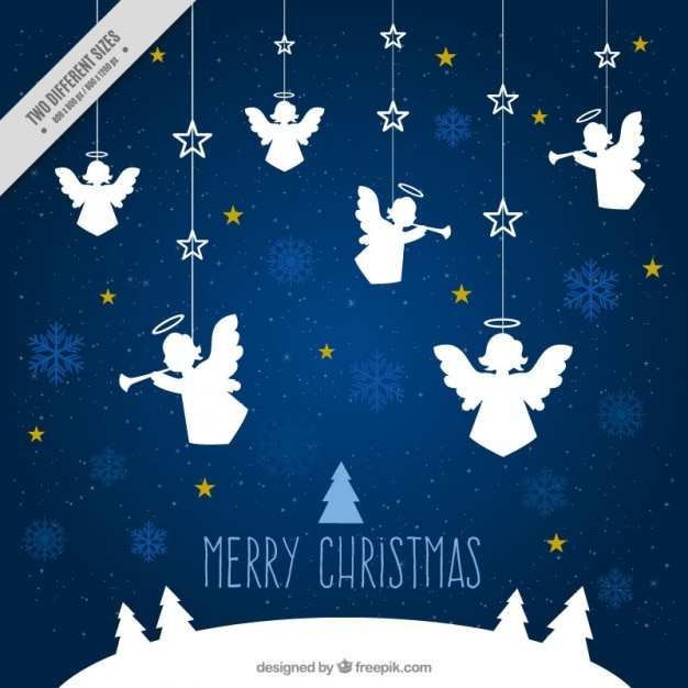 Angels Christmas Background.Merry Christmas Background With Ornaments Of Angels Vector