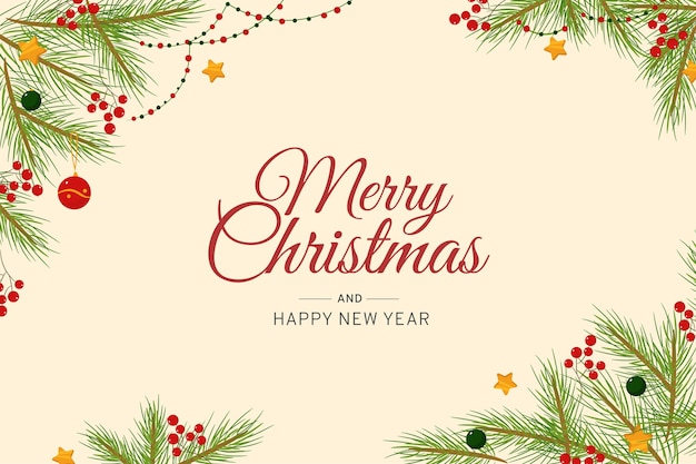 Merry christmas background with pine leaves and tinsel Free Vector