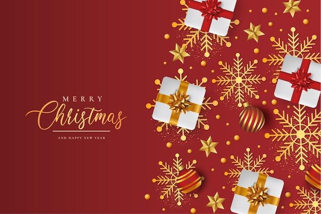 현실적인 크리스마스 패턴으로 메리 크리스마스 배경 무료 벡터