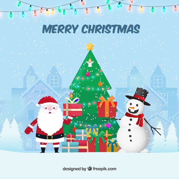 Merry christmas background with santa claus and snowman