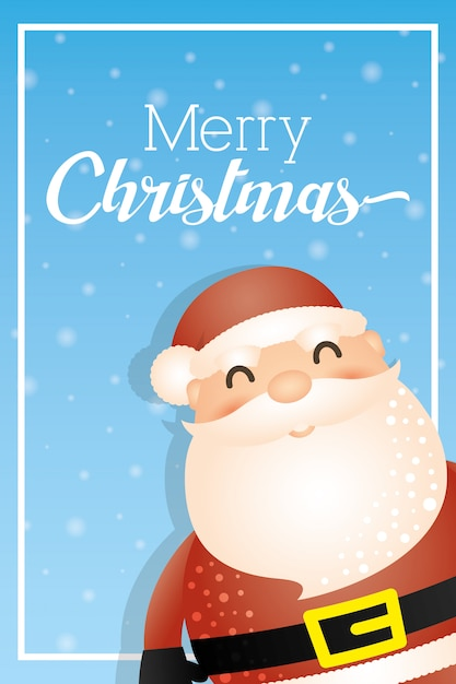 Merry christmas background with santa claus Free Vector