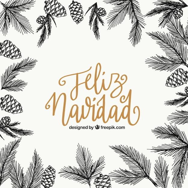 Merry christmas background with sketches of leaves and pineapples Free Vector